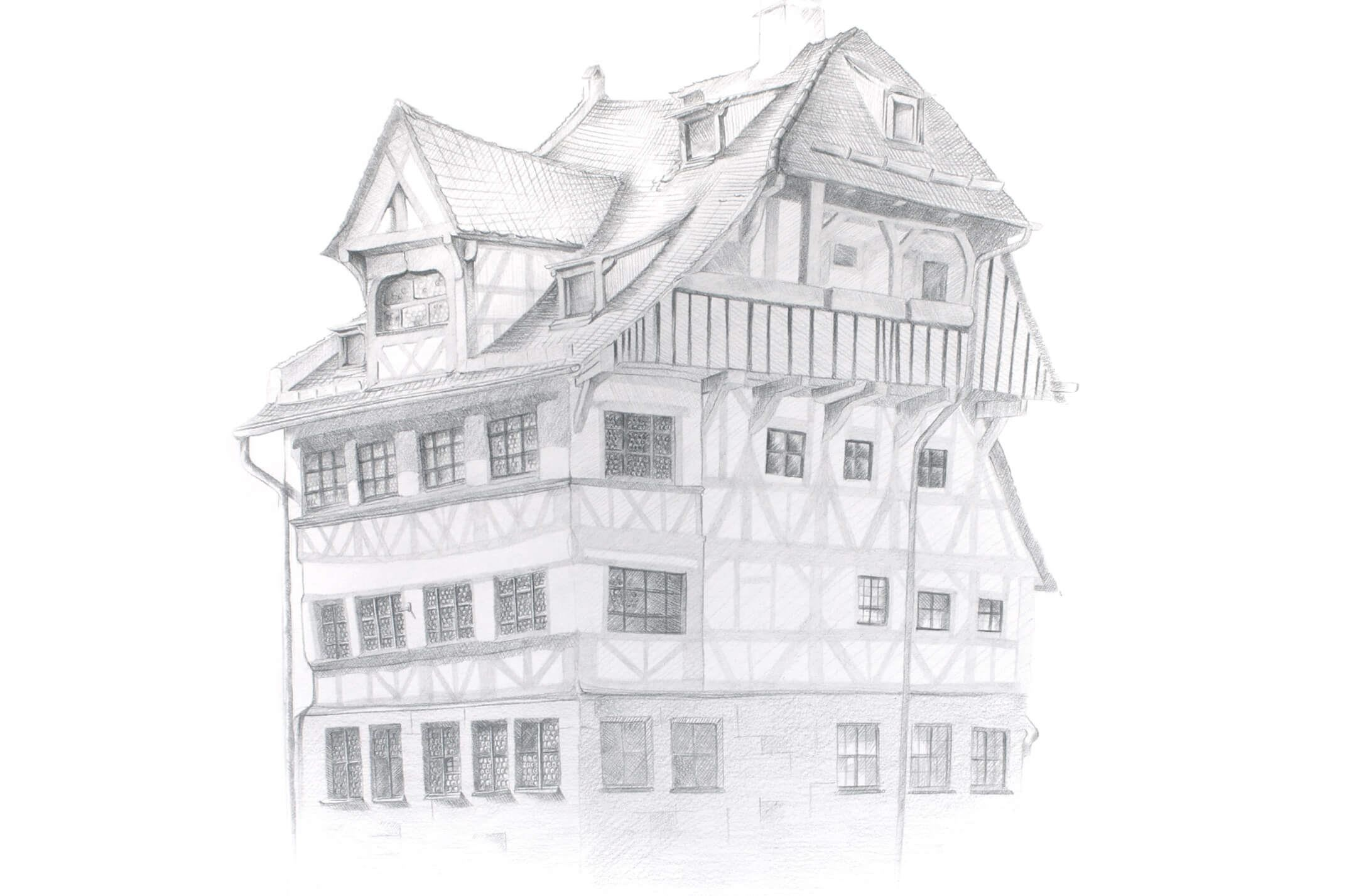 Line Drawing Of Your House : How to draw the duerer house with castell