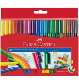 Faber-Castell - Connector felt tip pen, cardboard wallet of 20