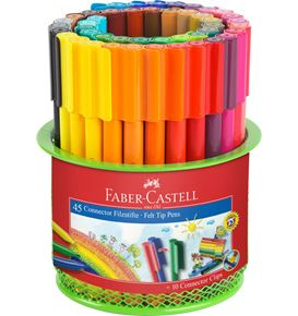 Faber-Castell - Connector felt tip pen set Mesh tins, 55 pieces