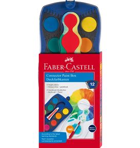 Faber-Castell - Connector paint box, blue, 12 colours plus opaque white