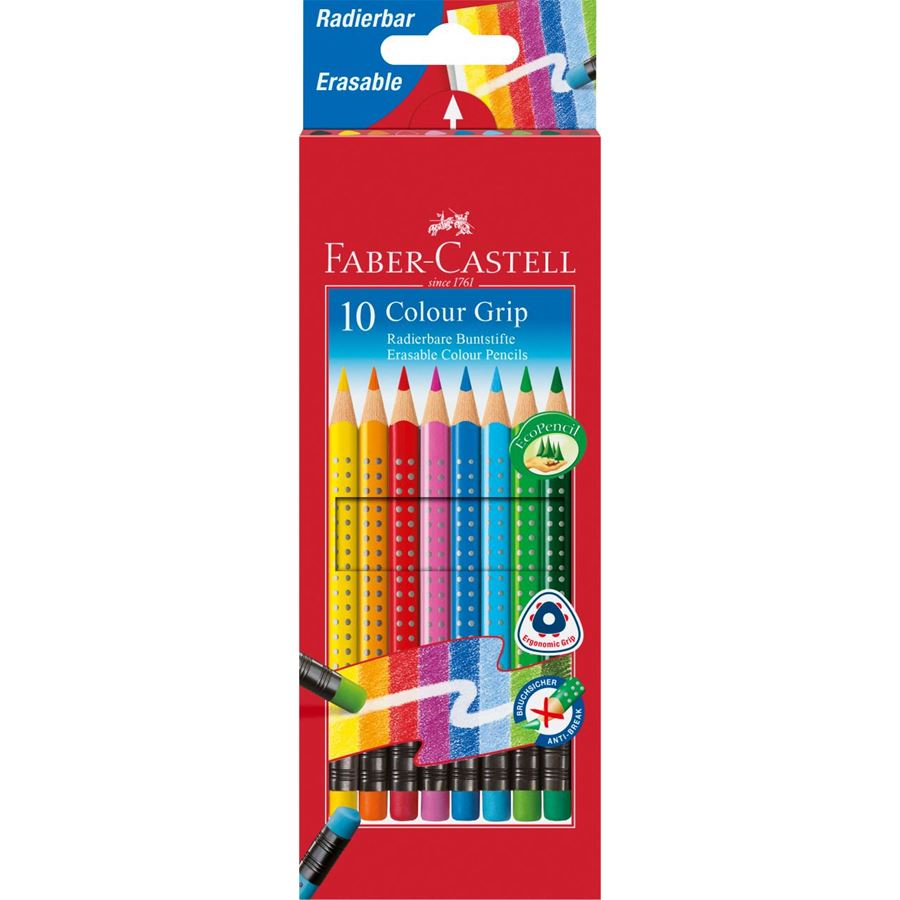 Faber-Castell - Colour Grip erasable colour pencils, wallet of 10