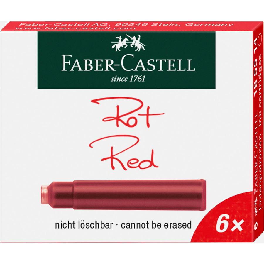 Faber-Castell - Ink cartridges, standard, 6x red