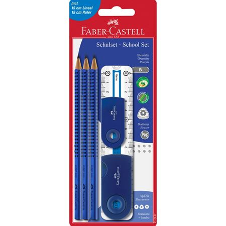 Faber-Castell - Grip 2001 graphite pencil set, B, blue, 6 pieces