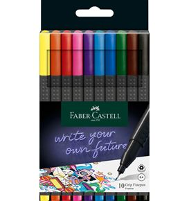 Faber-Castell - Grip Finepen, 0.4, plastic wallet of 10