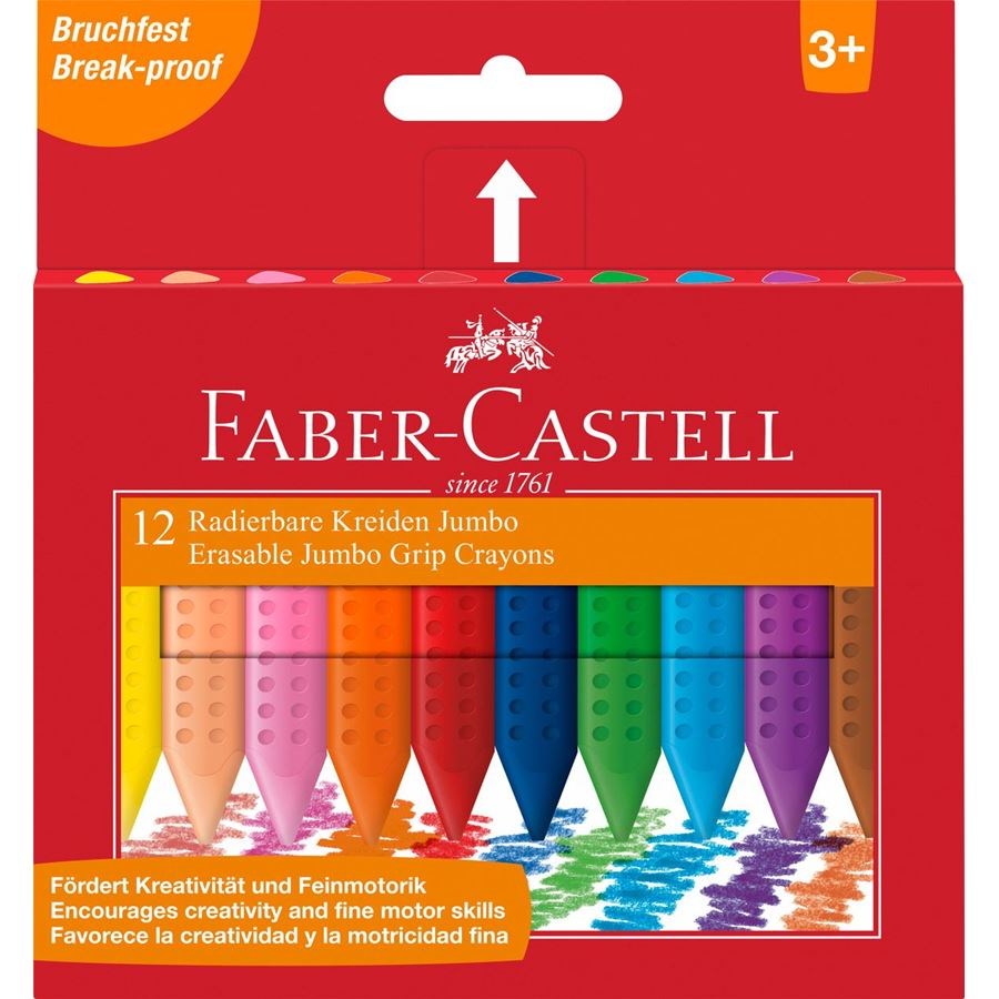 Faber-Castell - Jumbo Grip crayon erasable triangular, wallet of 12