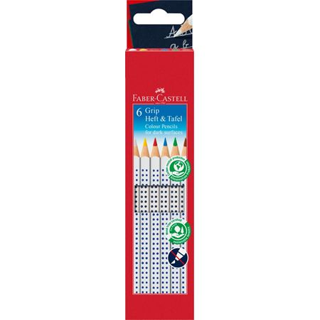 Faber-Castell - Colour Grip for dark surfaces colour pencil, wallet of 6