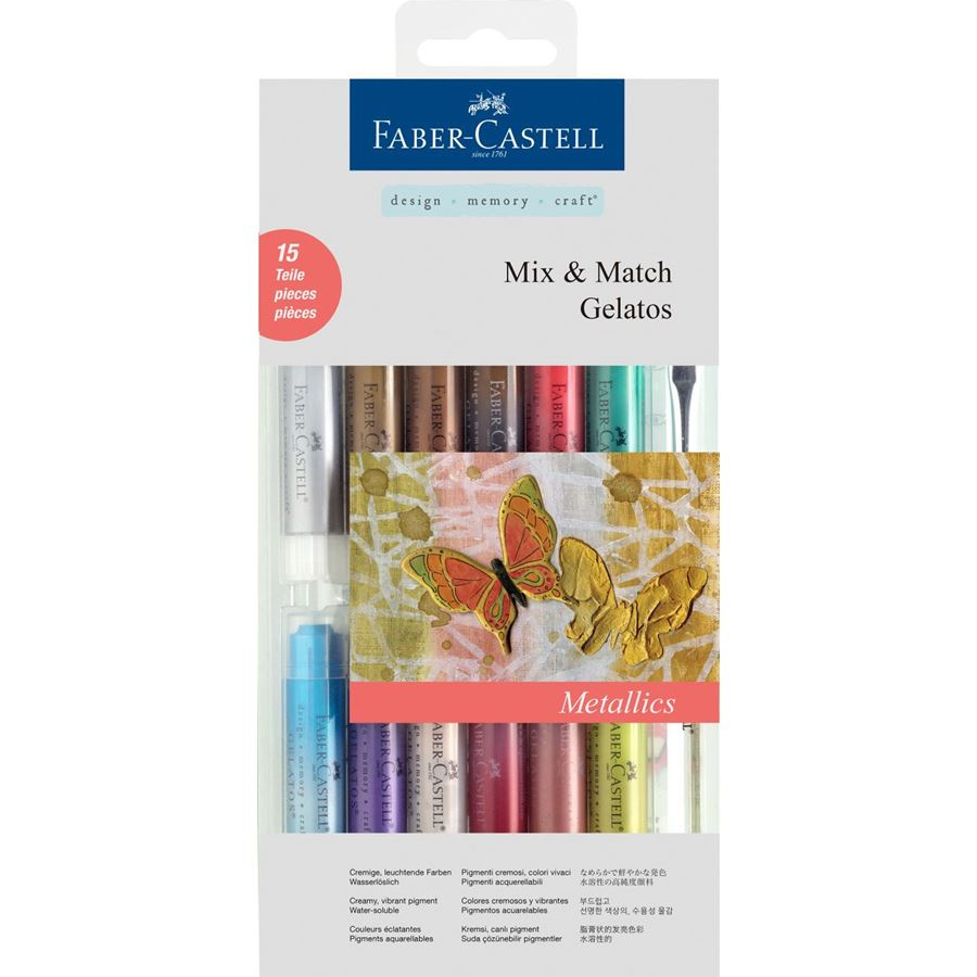 Faber-Castell - Gelatos watersoluble crayons, metallic tones, 15 pieces