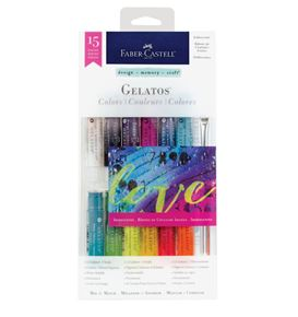 Faber-Castell - Gelatos watersoluble crayons, iridescent tones, 15 pieces