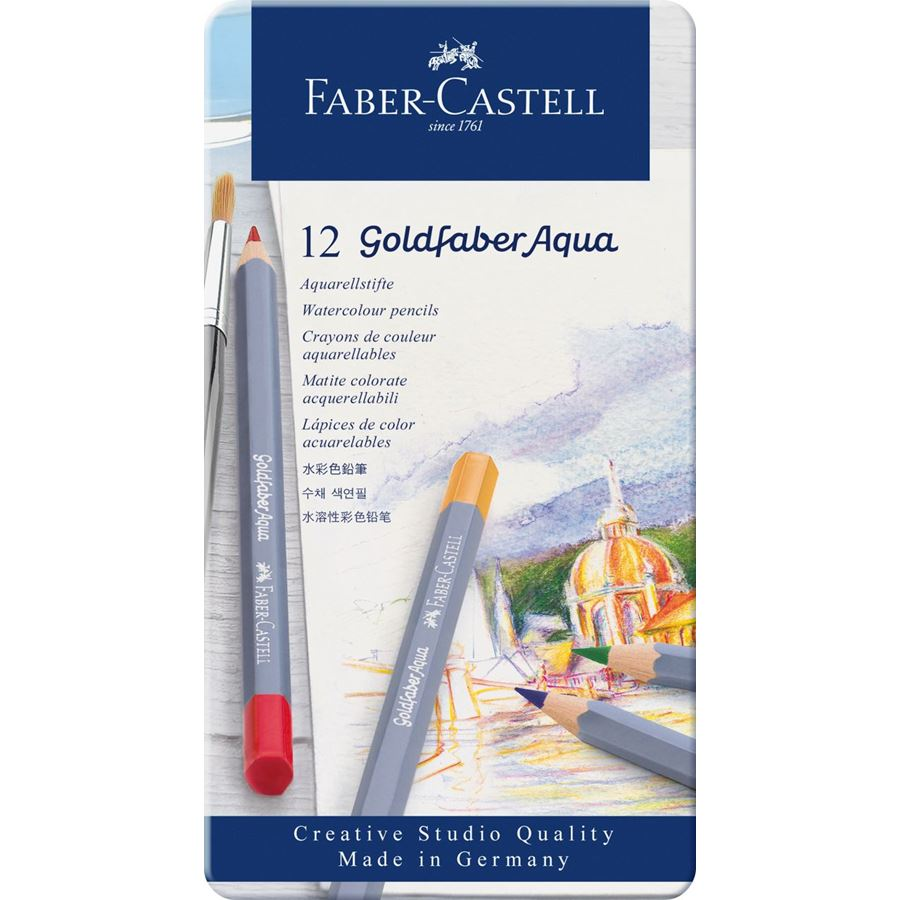 Faber-Castell - Goldfaber Aqua watercolour pencil, tin of 12