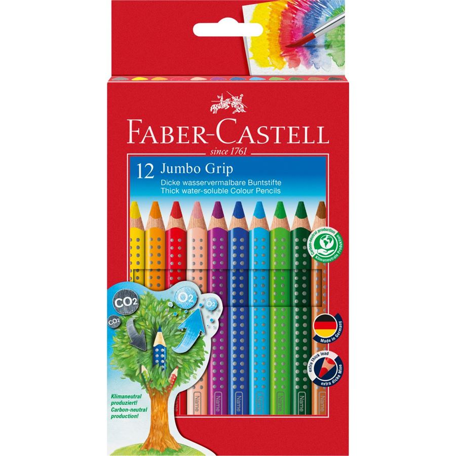 Faber-Castell - Jumbo Grip colour pencil, cardboard wallet of 12
