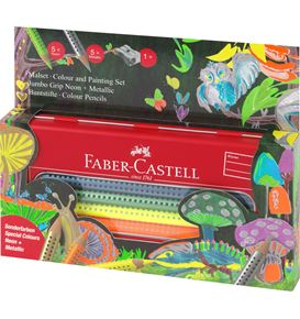 Faber-Castell - Jumbo Grip colouring set Neon & Metallic in a tin, 11 pieces