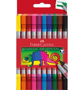Faber-Castell - Double-ended felt tip pen, plastic wallet of 10