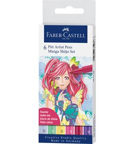 Faber-Castell - Pitt Artist Pen Brush India ink pen, wallet of 6, Shôjo
