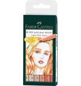 Faber-Castell - Pitt Artist Pen Brush India ink pen, wallet of 6, Light skin