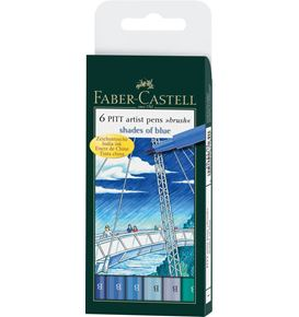 Faber-Castell - Pitt Artist Pen Brush India ink pen, wallet of 6, Blues