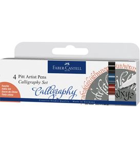 Faber-Castell - India ink Pitt Artist Pen Calligraphy 4ct wallet, classic