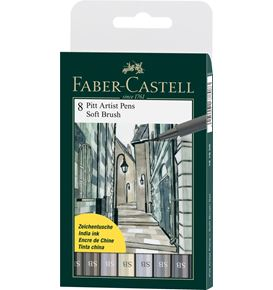 Faber-Castell - India ink Pitt Artist Pen Soft Brush Grey wallet of 8