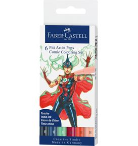 Faber-Castell - Pitt Artist Pen Brush India ink pen, wallet of 6, Colouring