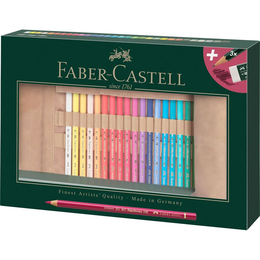 Faber-Castell - Polychromos colour pencil, pencil roll, filled, 34 pieces