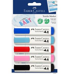Faber-Castell - Textile Marker Set, 4 Baby-Colours and 1x black
